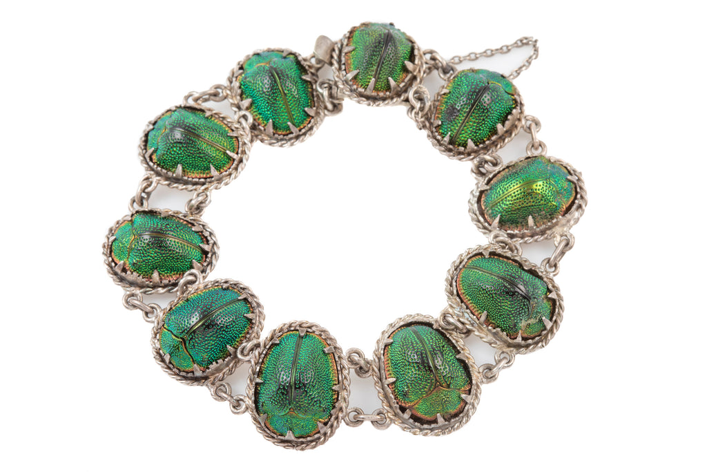 Antique Silver Scarab Beetle Bracelet, 7""