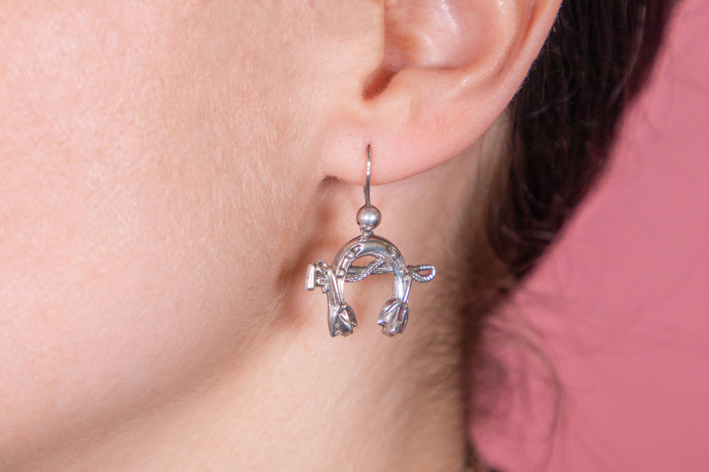 Victorian Silver Horseshoe and Crop Earrings c.1881