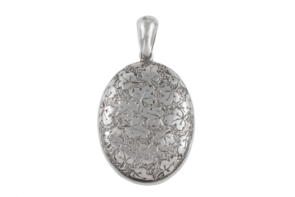Victorian Silver Oval Shamrock Locket