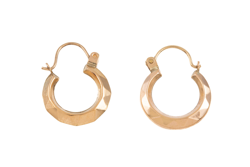 "Petite 9ct Gold ""Sunshine"" Faceted Hoop Earrings"