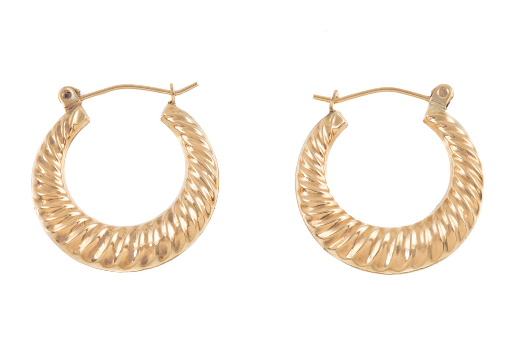 Small 9ct Gold Ridged Hoop Earrings
