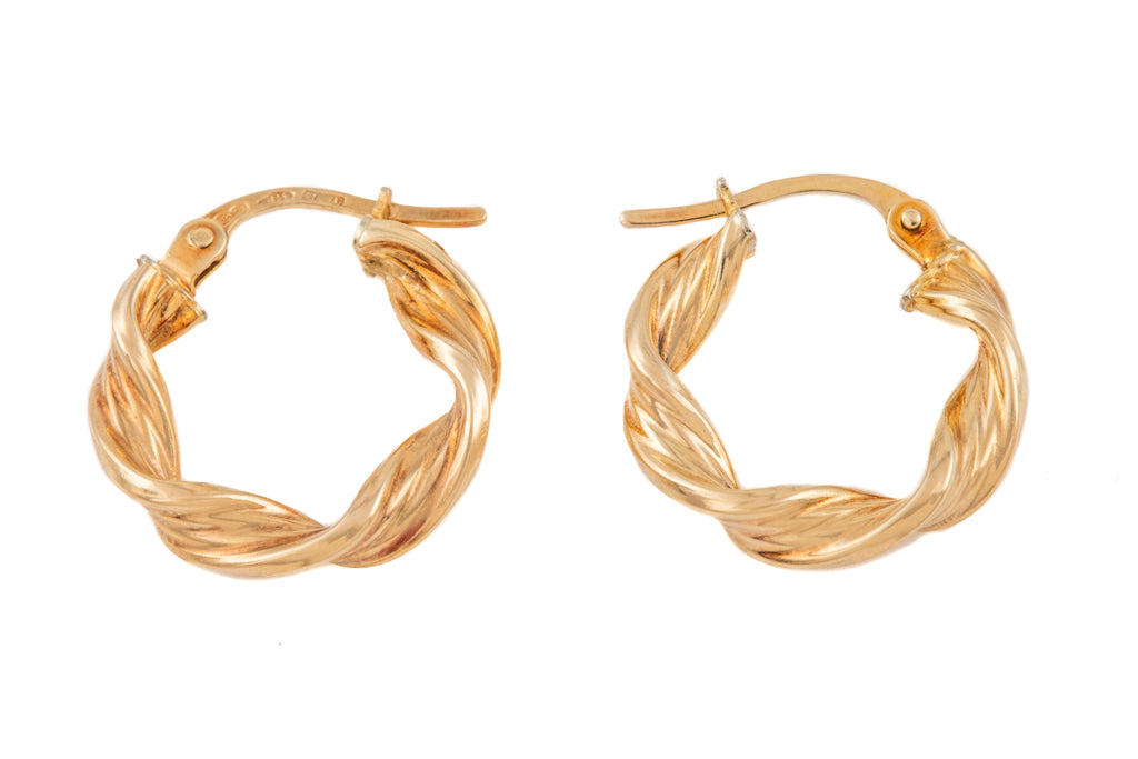 9ct Gold Twisted Hoop Earrings