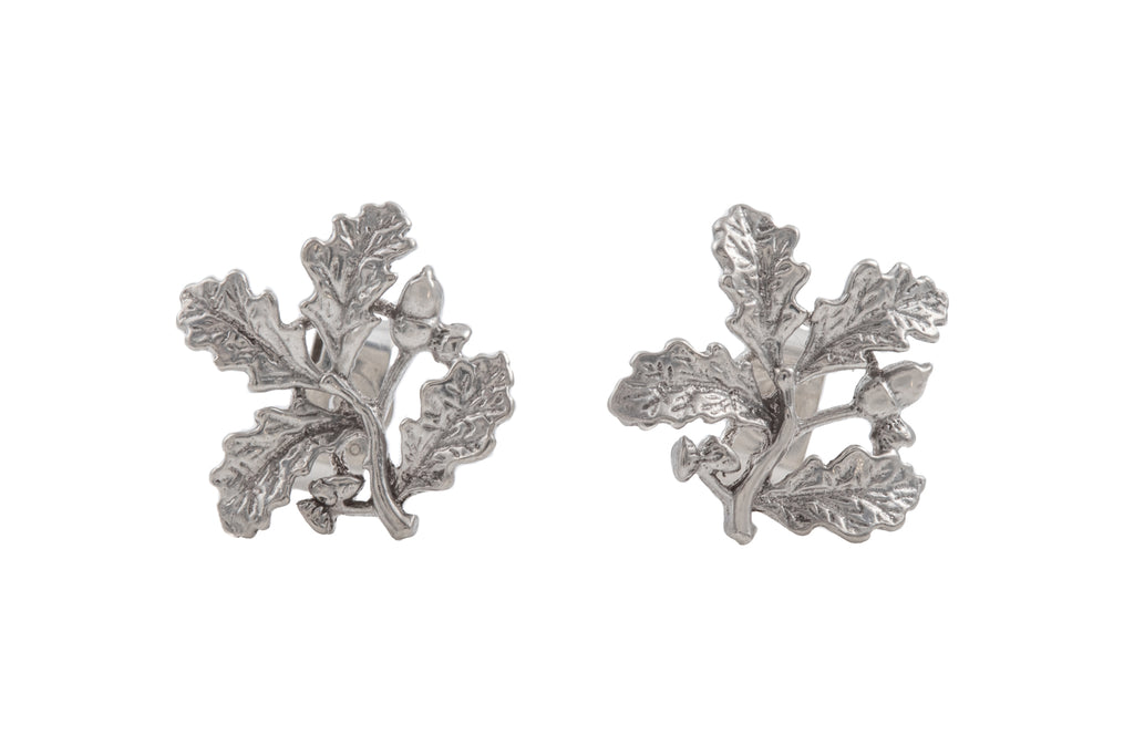 Silver Oak Leaf Acorn Stud Earrings