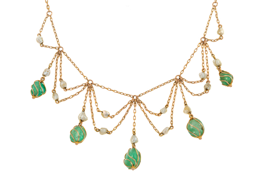 Antique Gold Emerald Pearl Fringe Necklace, (16.50ct), 17""