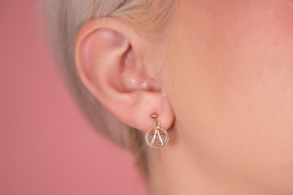 9ct Gold Pentacle Drop Earrings