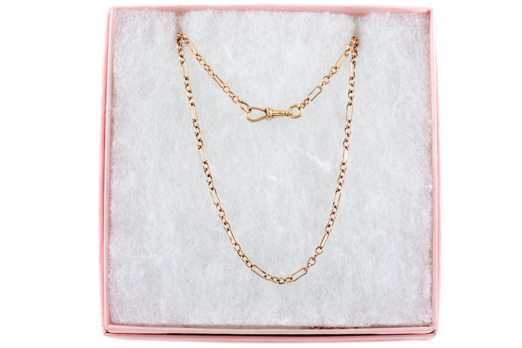 "Victorian Rose Gold Figaro Chain, 29"" (5.5g)"