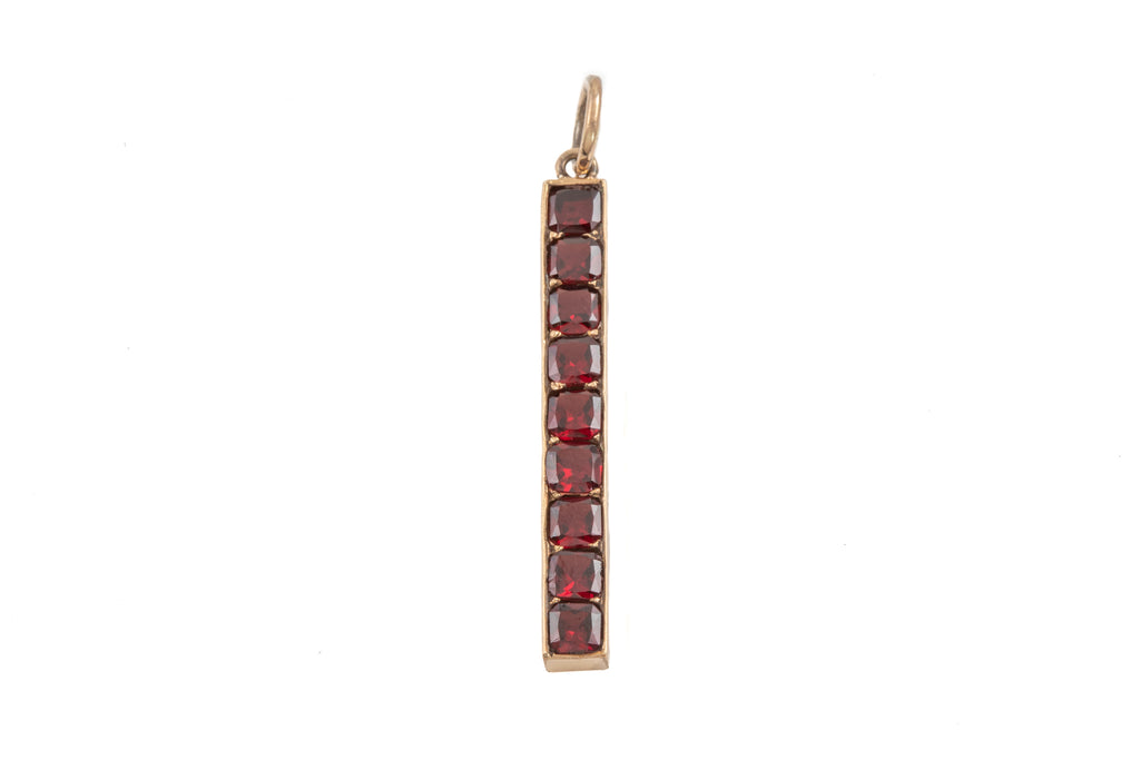 Victorian Gold Garnet Bar Pendant, (1.30ct)