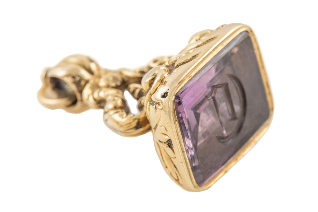 "Victorian 15ct Gold Cased Amethyst Fob, ""C"""