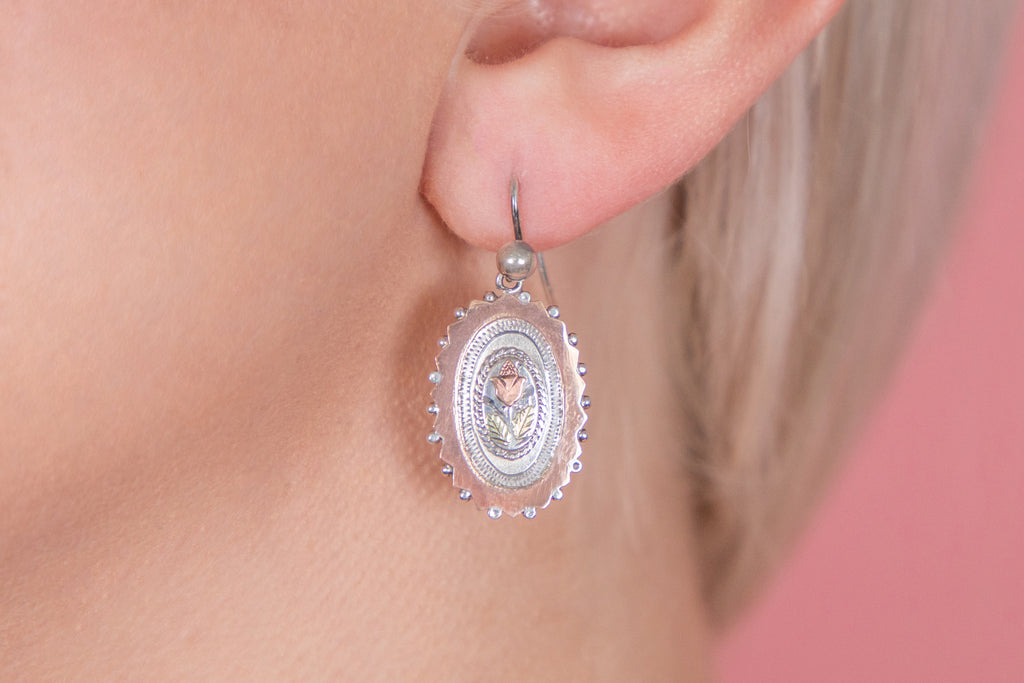 Victorian Aesthetic Silver Earrings, with Rose Gold Details
