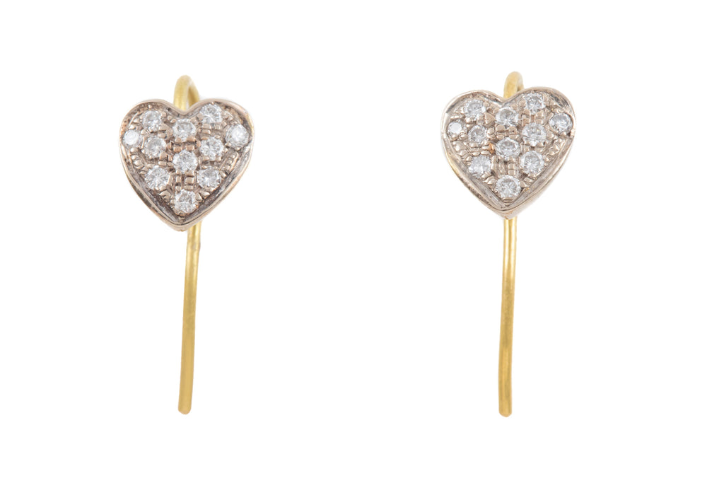 Edwardian 18ct Gold Diamond Heart Earrings (0.22ct)