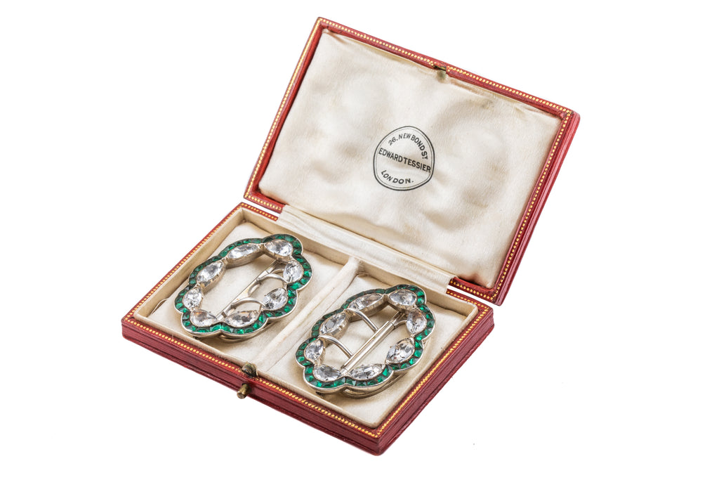 Georgian Silver Paste Buckles, with Antique Tessier London Box