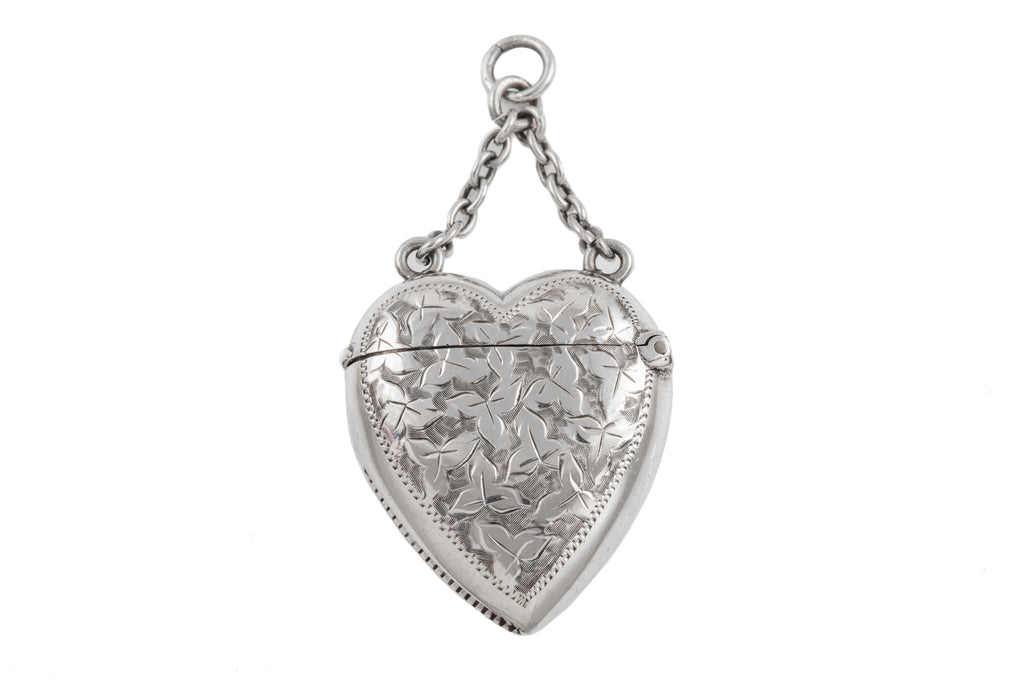 Antique Silver Heart Vesta Case Pendant