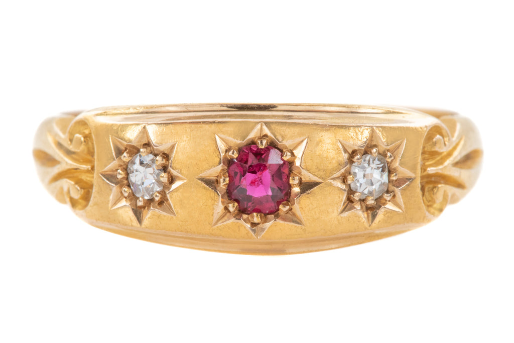 "Edwardian 18ct Gold Ruby Diamond Stacking Ring, c.1904 ""From Father"""