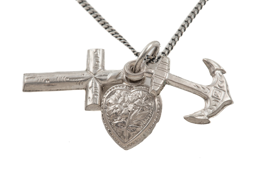 "Victorian Silver Faith Hope Charity Charms, with 18"" Chain"