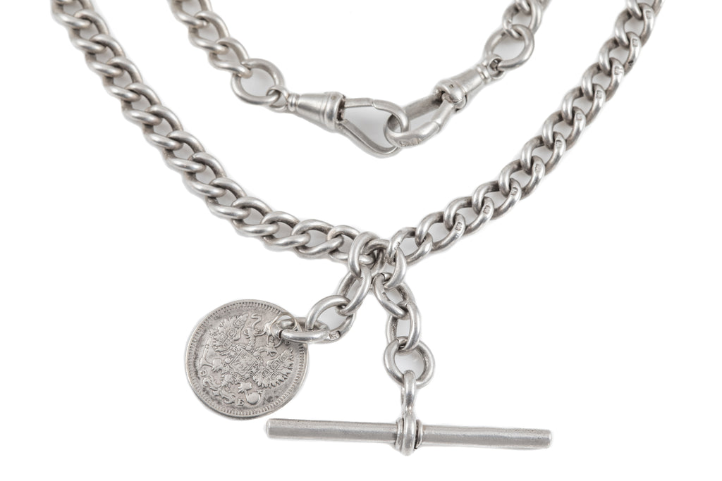 Antique Silver Albert Chain with T-bar and Coin Charm, 15 & 3/8""