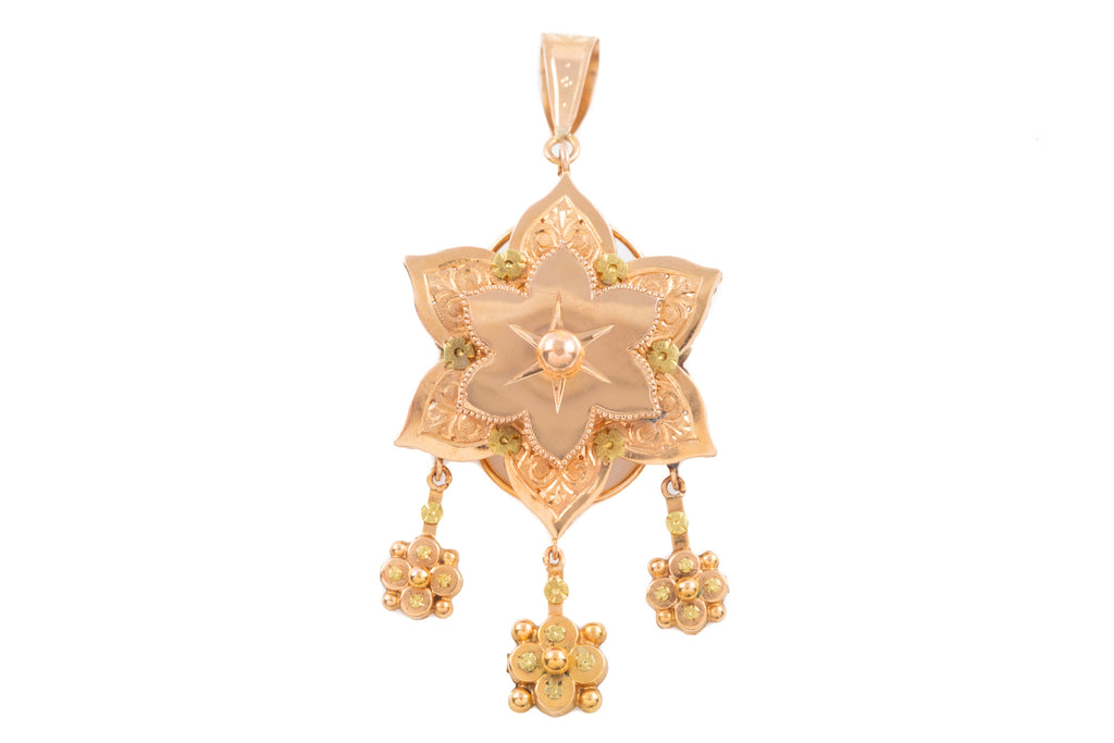 Victorian 18ct Gold Flower Drop Pendant
