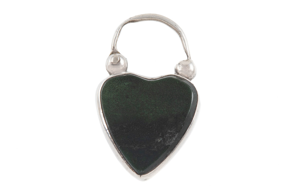 Antique Silver Bloodstone Heart Padlock Charm
