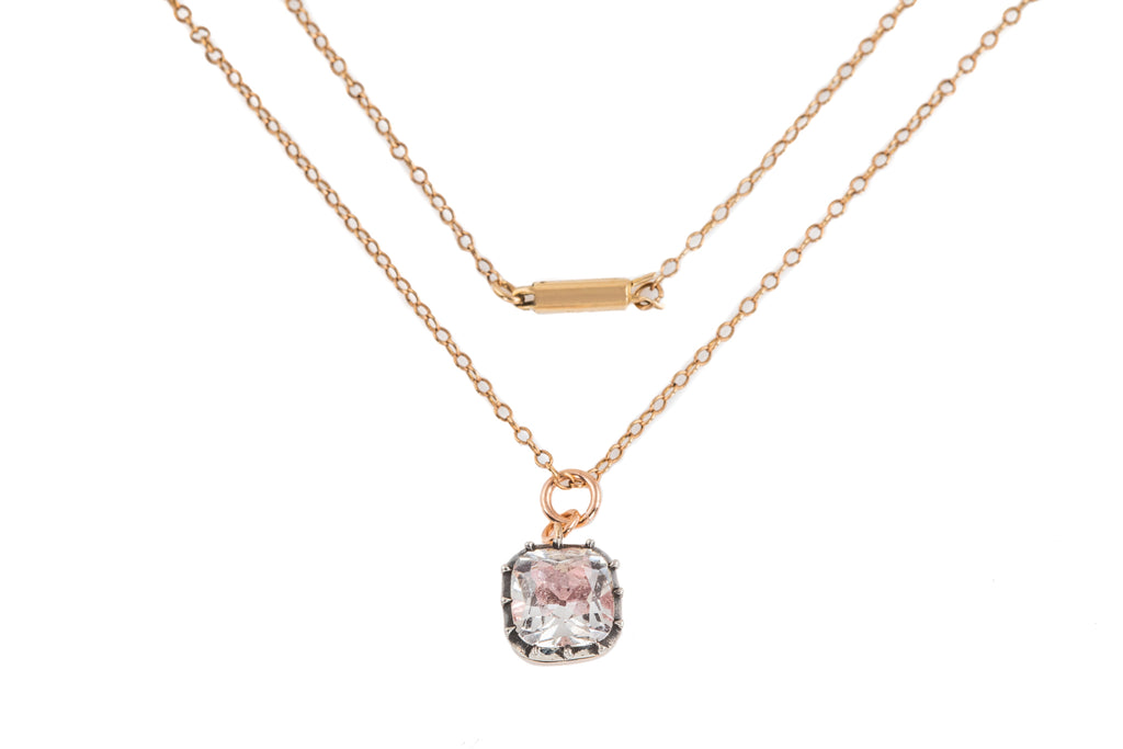 "Georgian Pink Foil Paste Charm, with 18"" Antique Gold Chain"