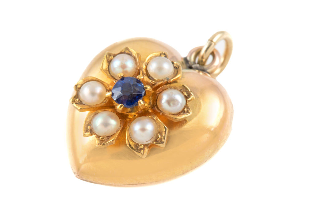 Victorian Gold Heart  Pendant with Pearl Sapphire Flower