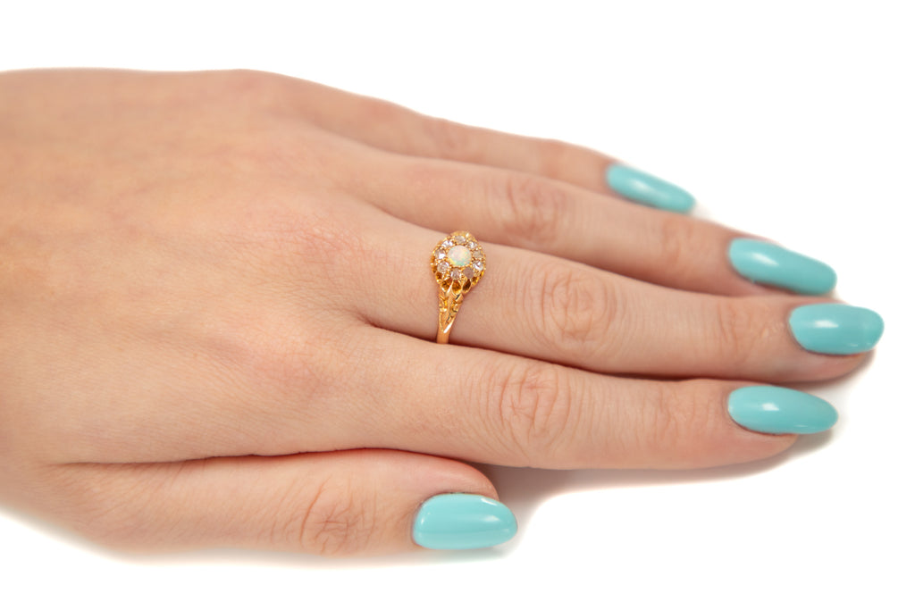 Victorian 18ct Gold Diamond Opal Cluster Ring