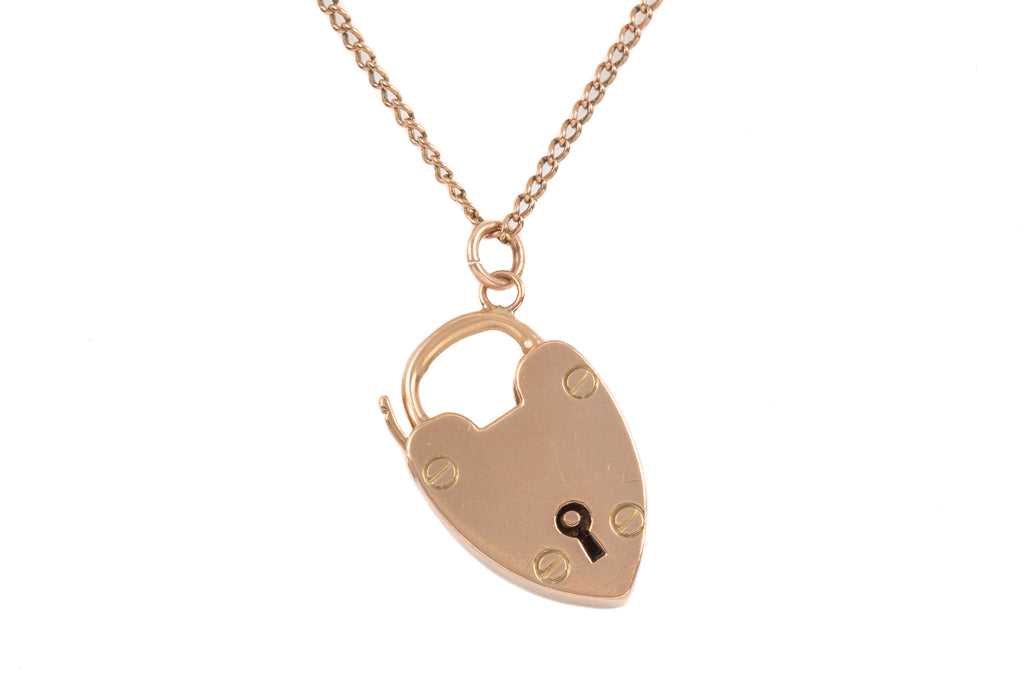 "Victorian Rosy Gold Heart Padlock, with Antique 20 & 3/4"" Chain"