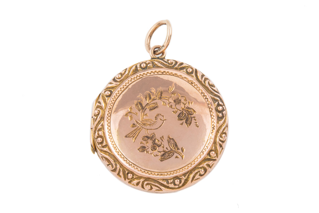 "Antique Gold Round Locket with ""Birdie"" Engravings, 9ct Gold Back and Front"