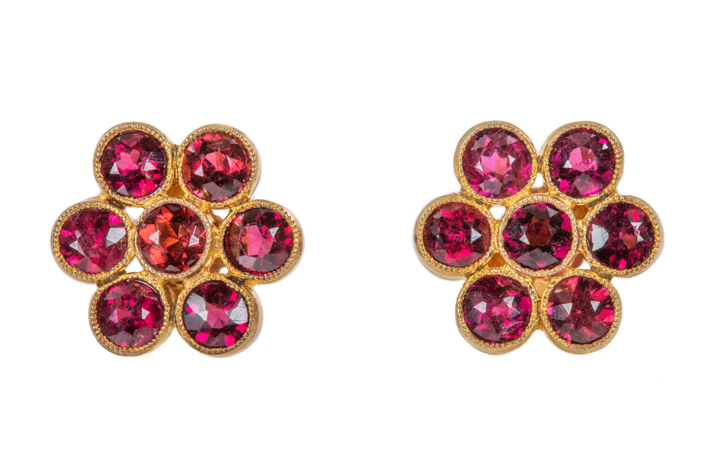Edwardian Gold Garnet Flower Stud Earrings, (3.36ct)