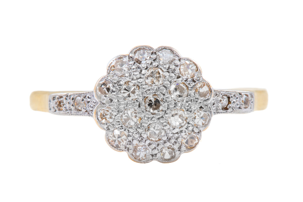 Art Deco 18ct Gold Platinum Diamond Cluster Ring, (0.12ct)