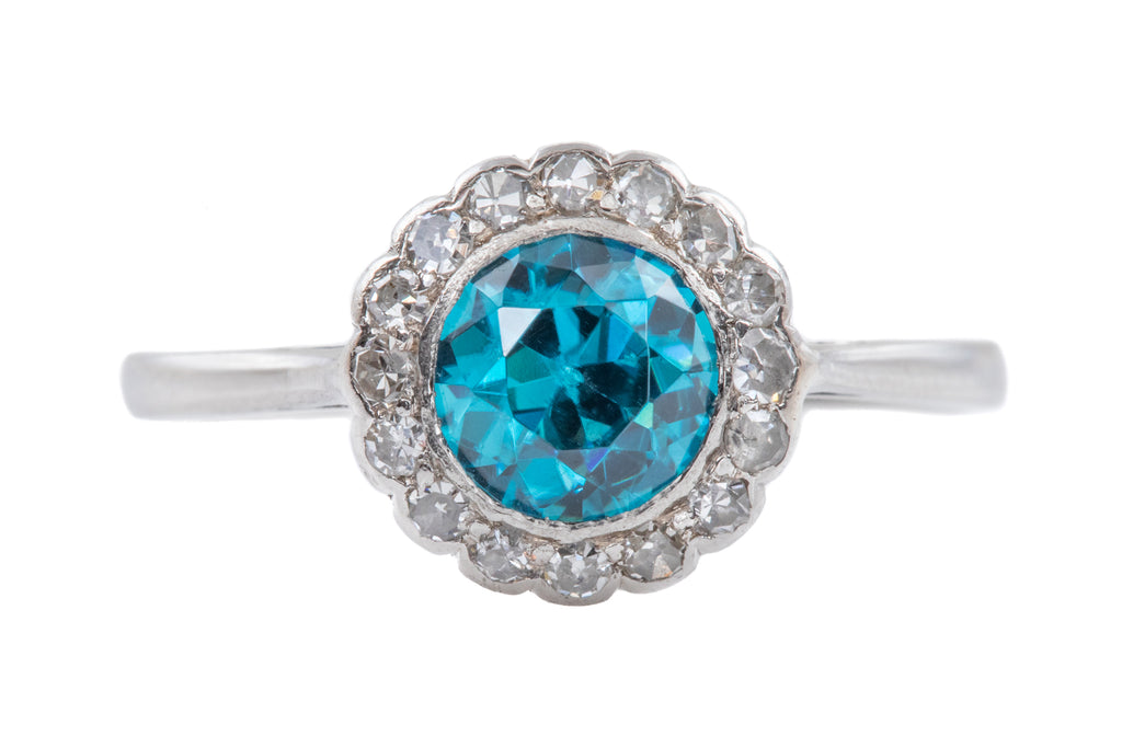 Art Deco Platinum Diamond Zircon Ring, (1.20ct)
