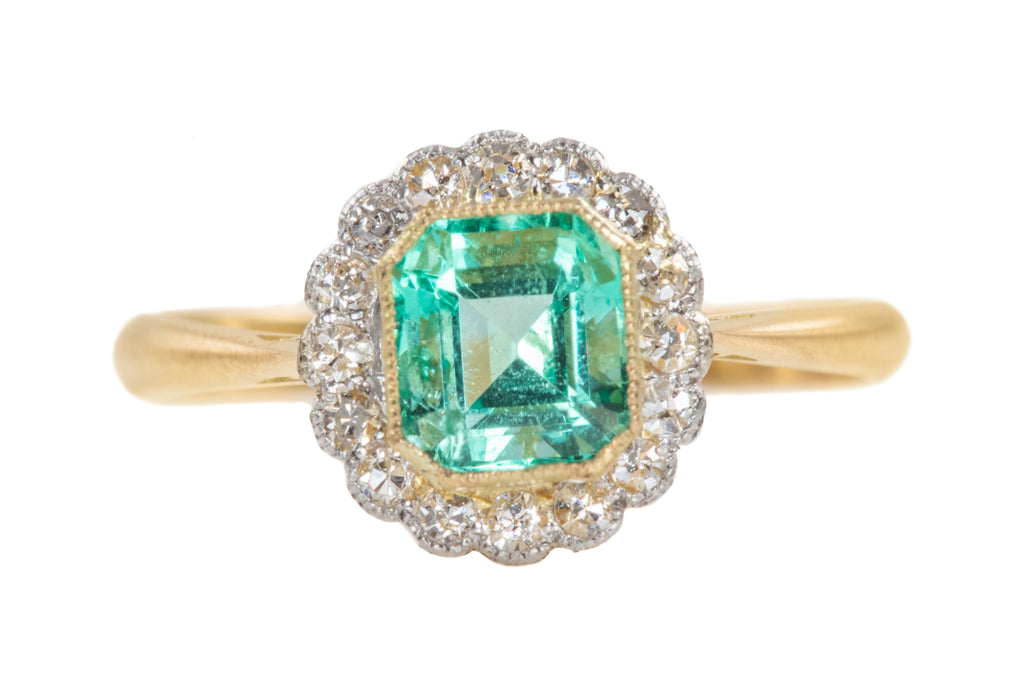 Art Deco 18ct Gold Emerald Diamond Ring, (0.66ct)