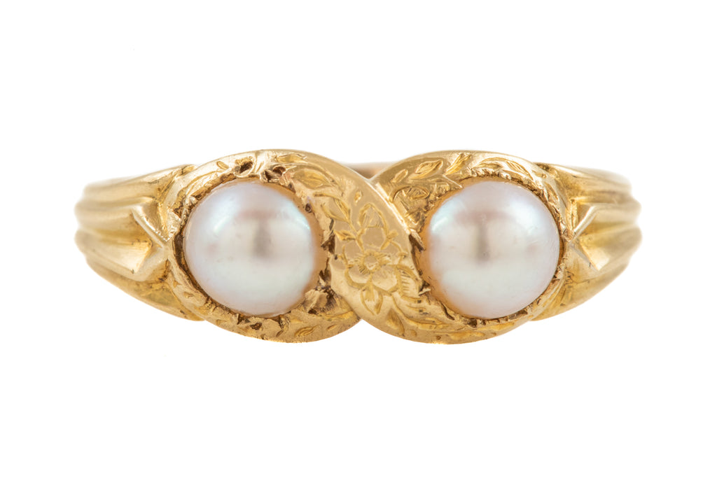 "Victorian 18ct Gold Pearl ""Infinity"" Ring"