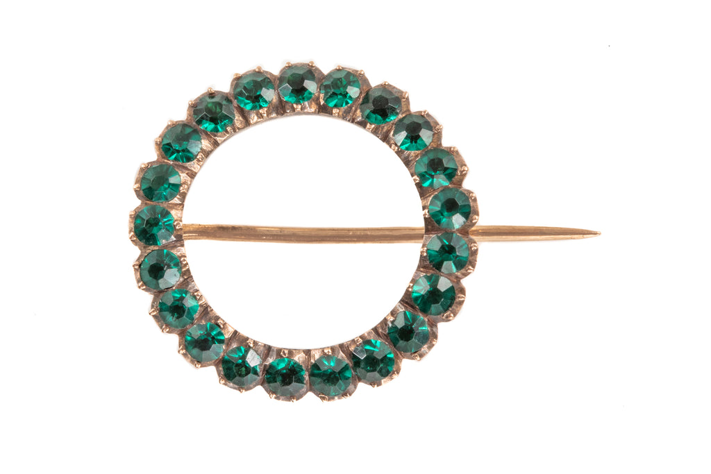 Georgian Gold Green Paste Roundel Brooch