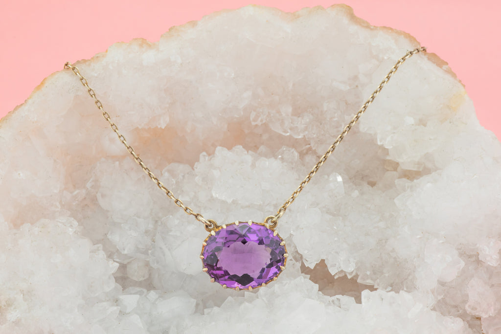 Antique Silver Amethyst Integral Necklace (8.90ct), 18""