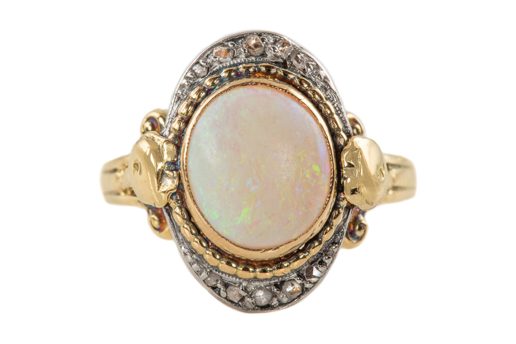 Antique French 18ct Gold Opal Diamond Ring, (1.14ct)