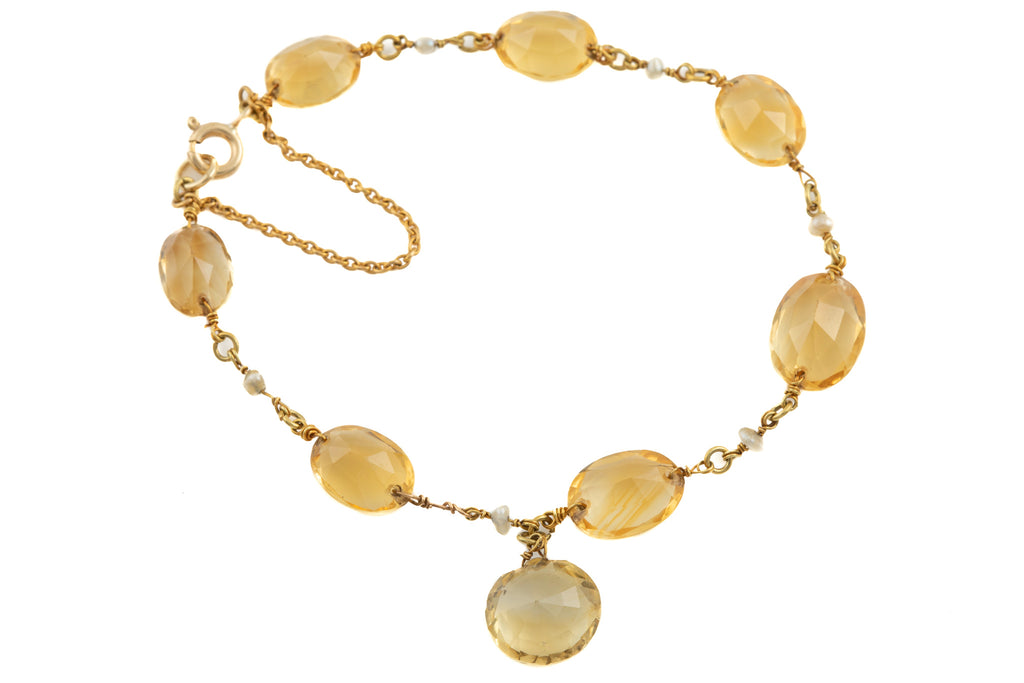 Antique Gold Citrine Pearl Bracelet (26.30ct), 7""
