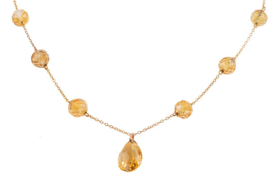 Art Deco Gold Citrine Briolette Necklace (37.40ct), 17""