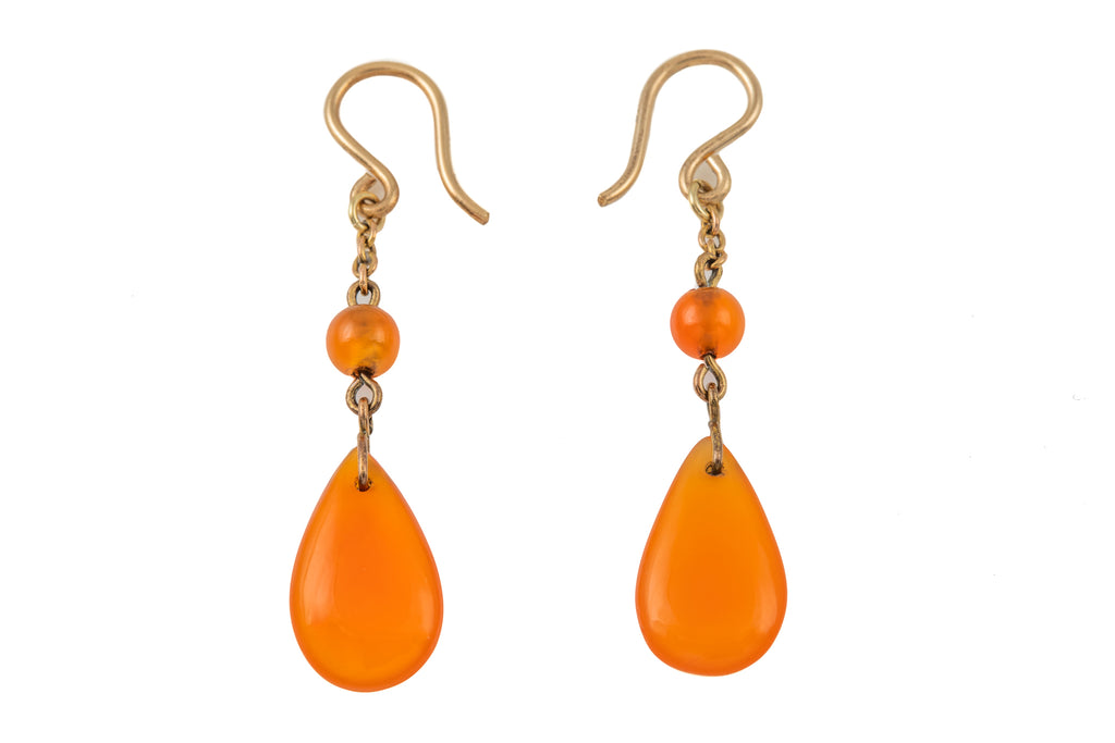 Victorian Carnelian Drop Earrings, with Solid Gold Hooks