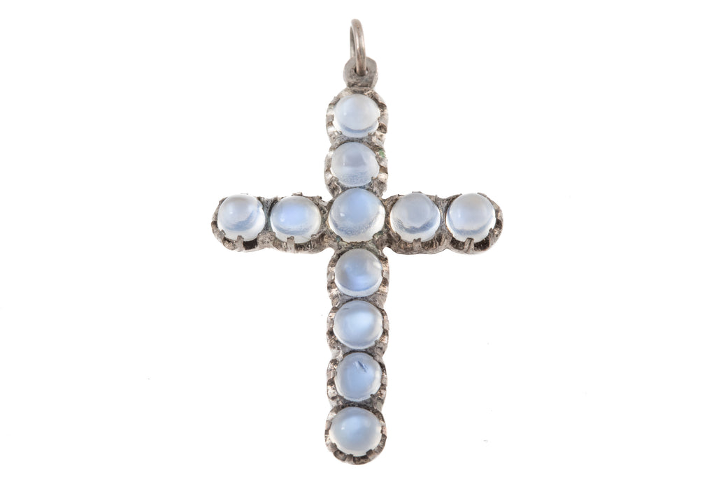 Antique Silver Moonstone Cross, (4.40ct)