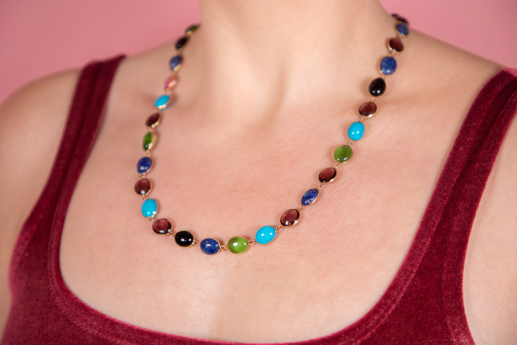 "Art Deco 18ct Gold Multi-Gemstone Necklace, 22 & 1/2"" (32.9g)"