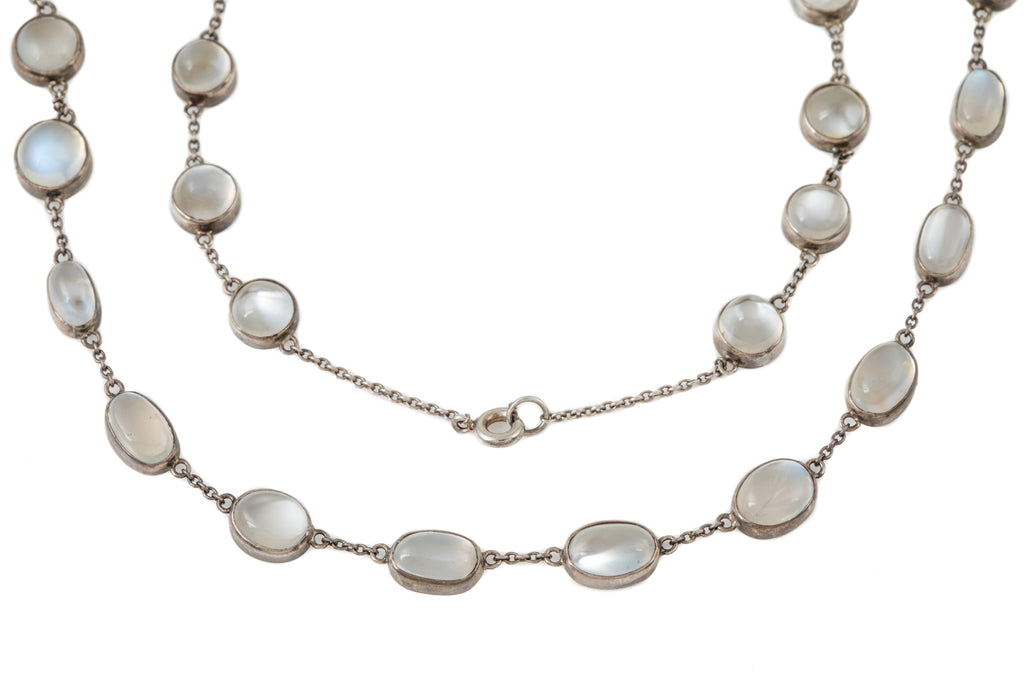 Victorian Silver Moonstone By The Yard Necklace (31.20ct), 18 & 1/4""
