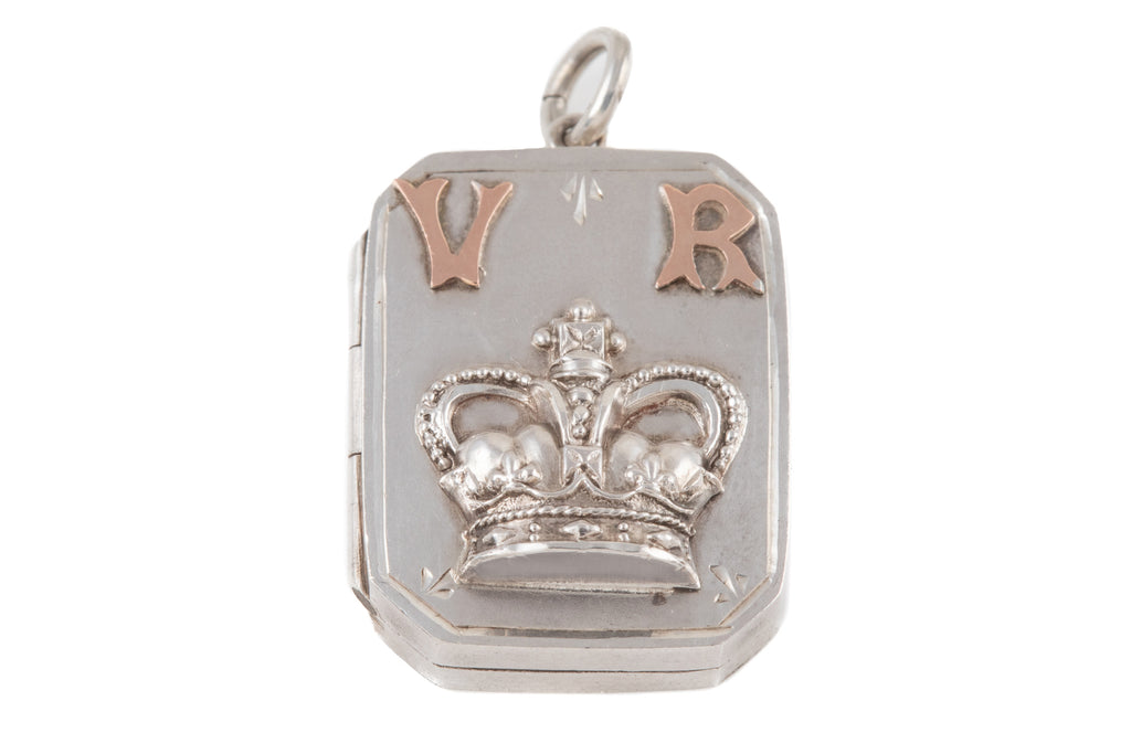 Antique Silver Victoria Regina Royal Crown Locket, c.1911