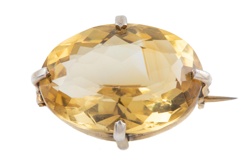 Antique Silver Citrine Brooch, (20.80ct)