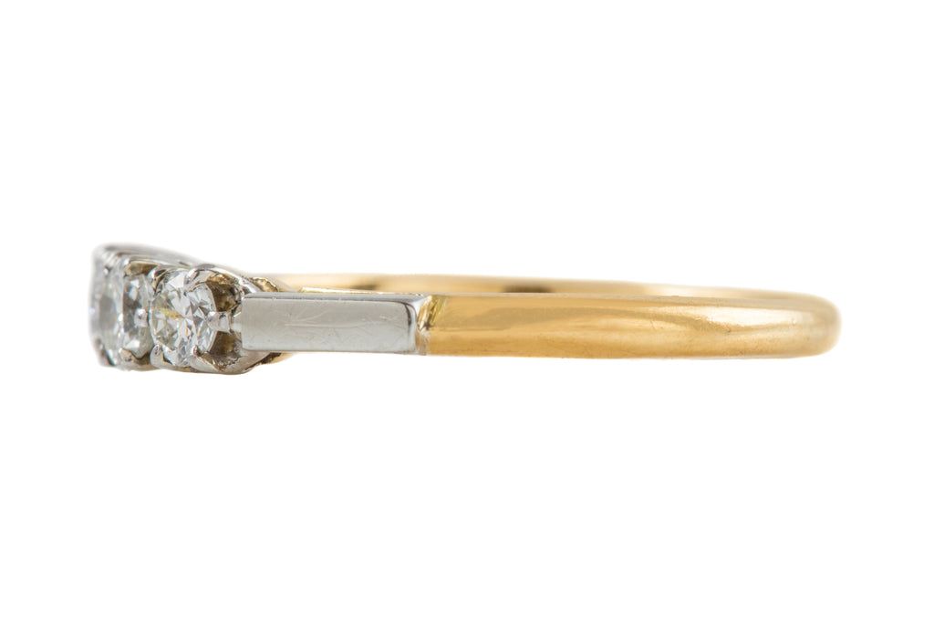 Art Deco 18ct Gold Diamond Trilogy Ring (0.30ct)
