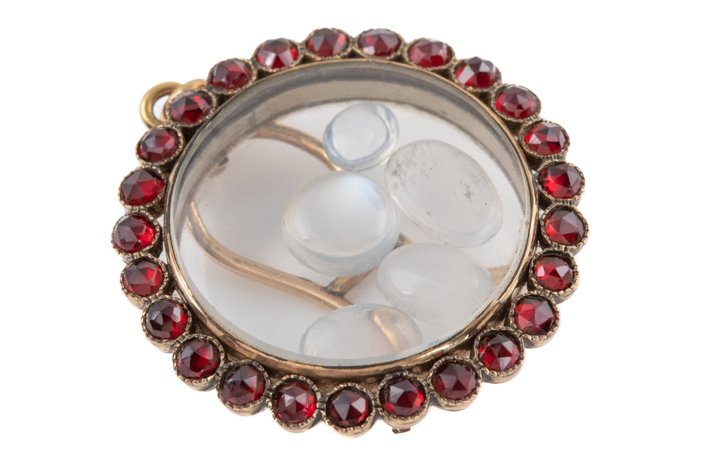 "Antique Gold Garnet ""Picture Frame"" Locket with Moonstones"