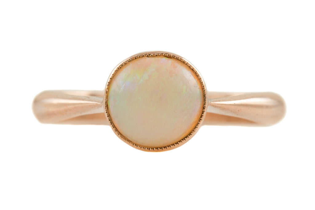 Edwardian Rose Gold Opal Solitaire Ring, (0.70ct)