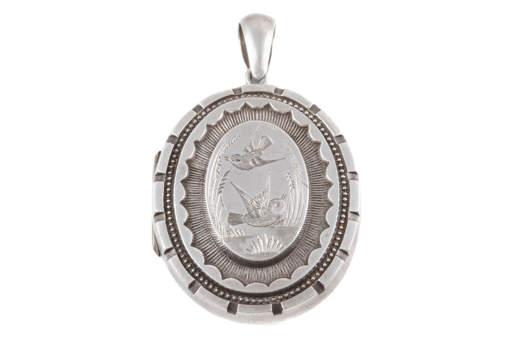 Victorian Aesthetic Silver Locket with Bird Motif