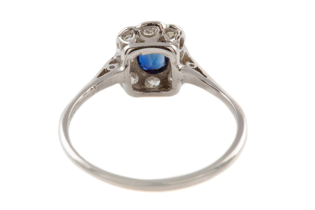Edwardian Platinum Sapphire Diamond Cluster Ring, (0.30ct)