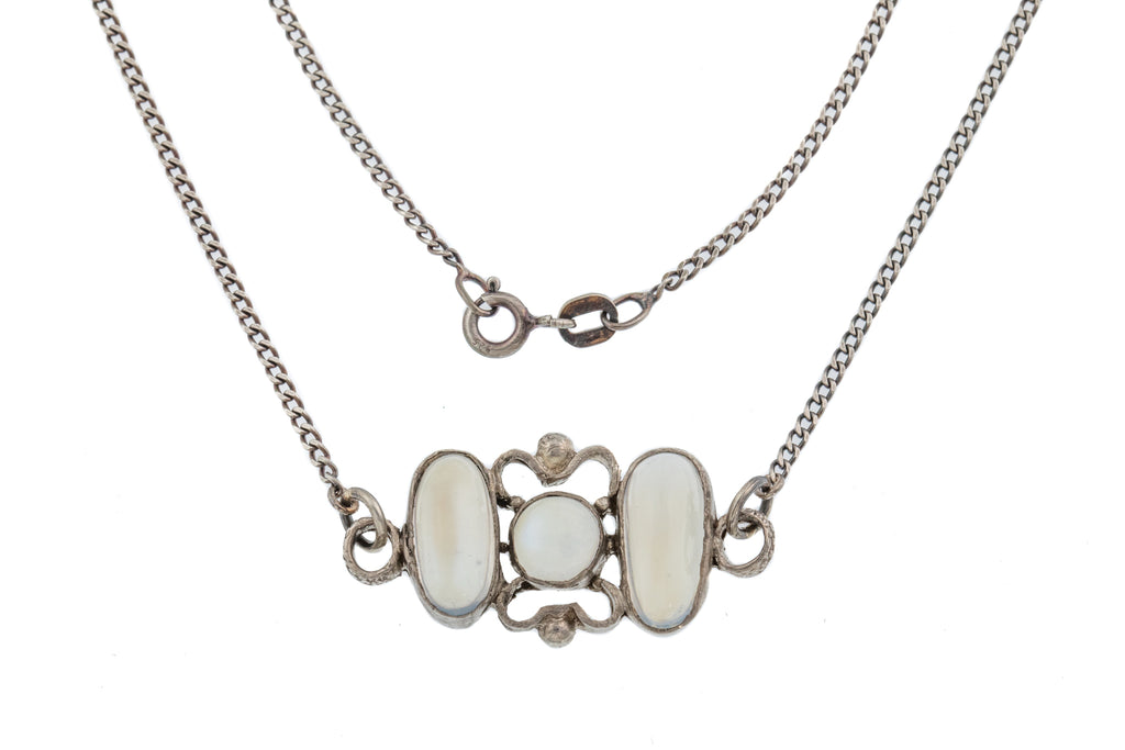 "15"" Antique Silver Moonstone Necklace (4.10ct)"