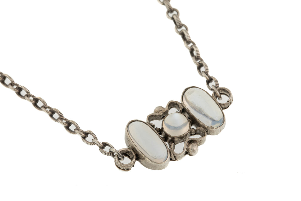 "17"" Antique French Silver Moonstone Necklace"