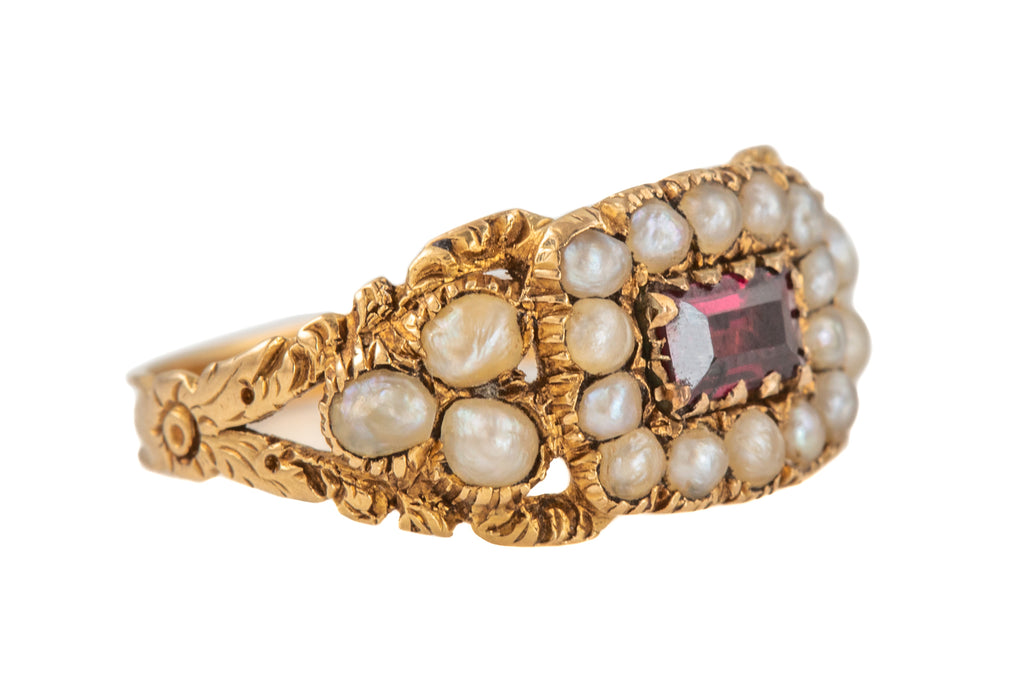 Georgian 18ct Gold Pearl Garnet Cluster Ring